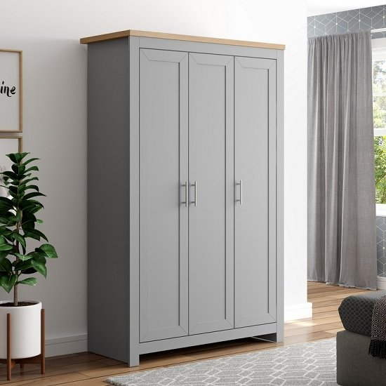 Fiona Wooden Wardrobe Wide In Grey And Oak With 3 Doors_1
