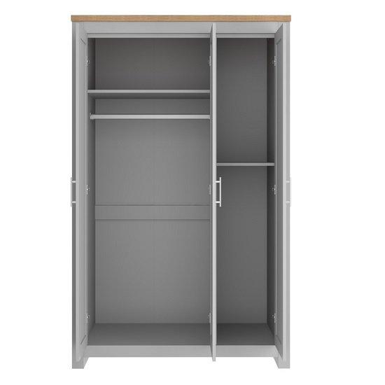 Fiona Wooden Wardrobe Wide In Grey And Oak With 3 Doors_2