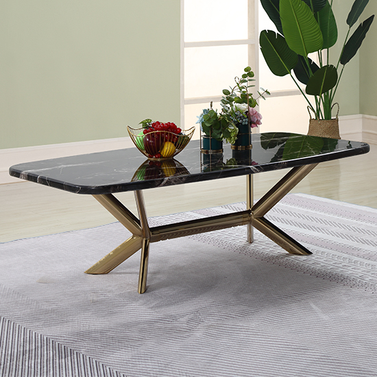 Firenze Black Marble Coffee Table With Gold Stainless Steel Legs