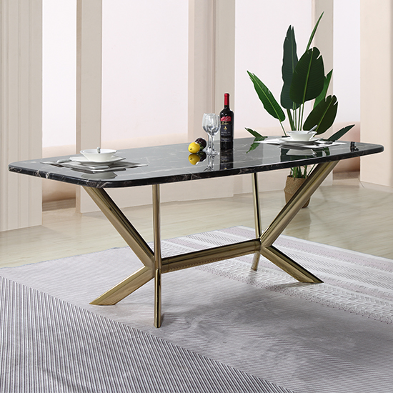 View Firenze black marble dining table with gold stainless steel legs