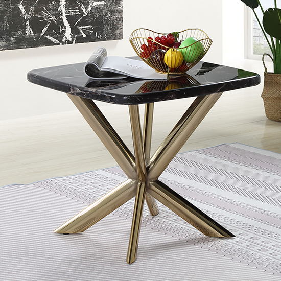 Firenze Black Marble Side Table With Gold Stainless Steel Legs
