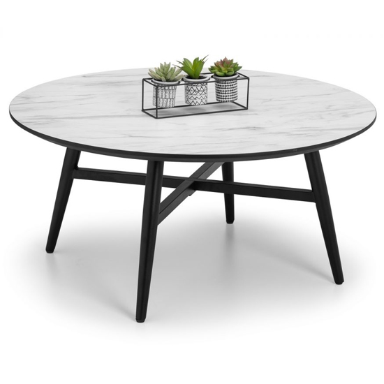 Firenze Circular Marble Effect Coffee Table With Black Legs_2