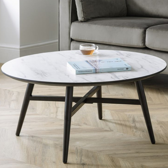 Firenze Circular Marble Effect Coffee Table With Black Legs_1