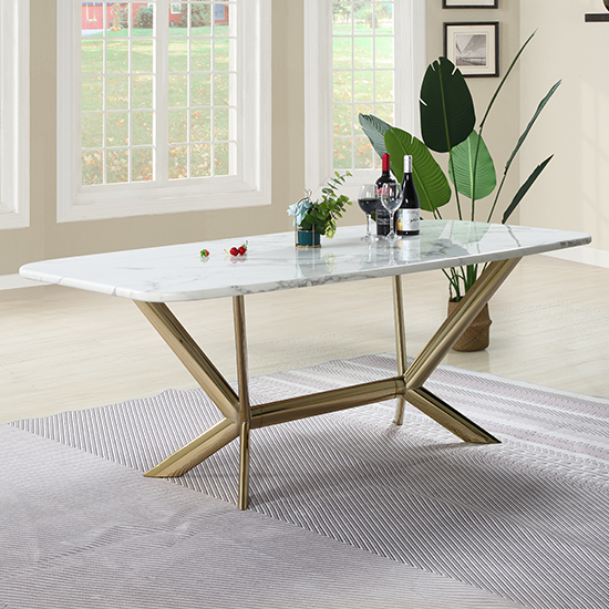 View Firenze white marble dining table with gold stainless steel legs