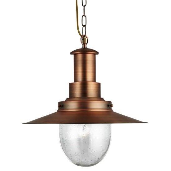 Fisherman Ceiling Light In Copper With Seeded Glass Shade