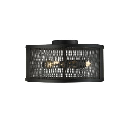 Fishnet 1 Light Drum Flush Ceiling Light In Matt Black