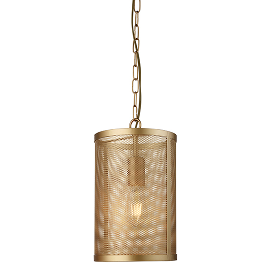 Fishnet 1 Light Pendant Ceiling Light In Matt Gold