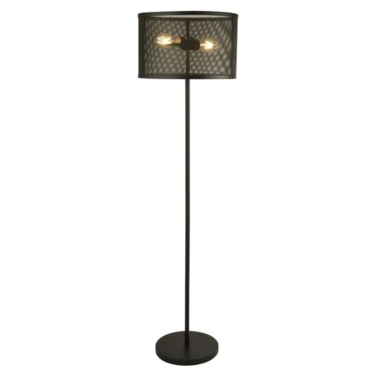 Fishnet 2 Lights Floor Lamp In Matt Black