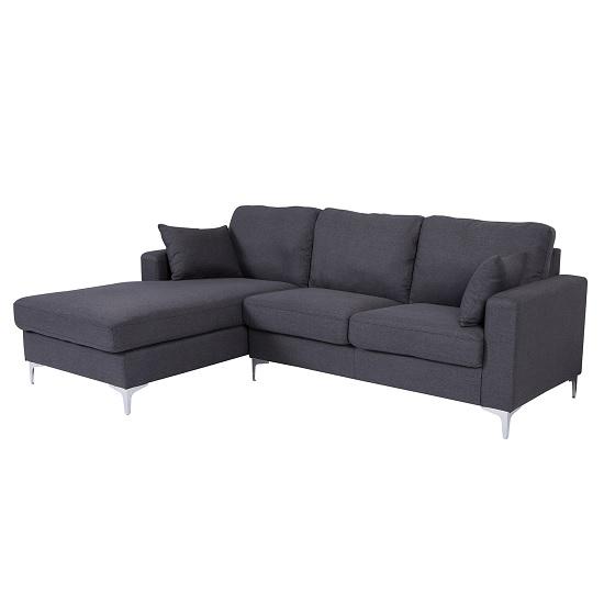 Flake Fabric Left Corner Sofa In Grey With Metal Legs