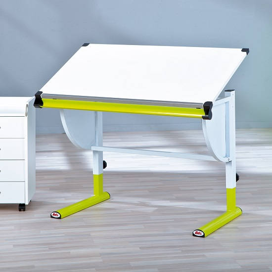 Flash Children Computer Desk In White And Green Lacquered