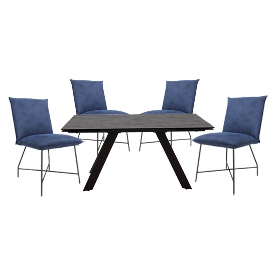 Flavia Extending Glass Dining Table With 4 Lukas Blue Chairs