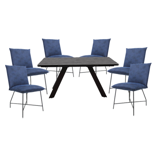 Flavia Extending Glass Dining Table With 6 Lukas Blue Chairs_1
