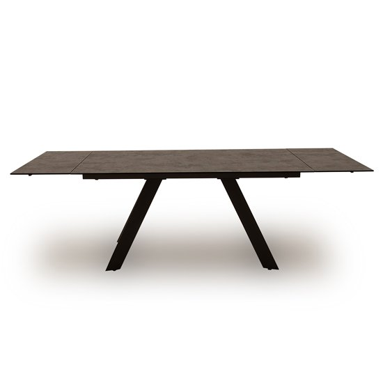 Flavia Extending Glass Dining Table In Grey