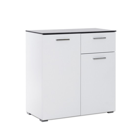 Flavio Compact Sideboard In White High Gloss And Dark Concrete