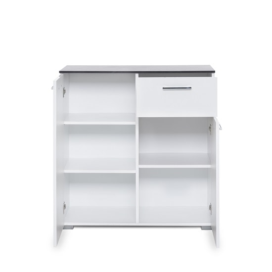 Flavio Compact Sideboard In White High Gloss And Dark Concrete_3