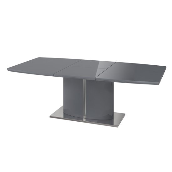 Flavio Extending Wooden Dining Table In Grey High Gloss