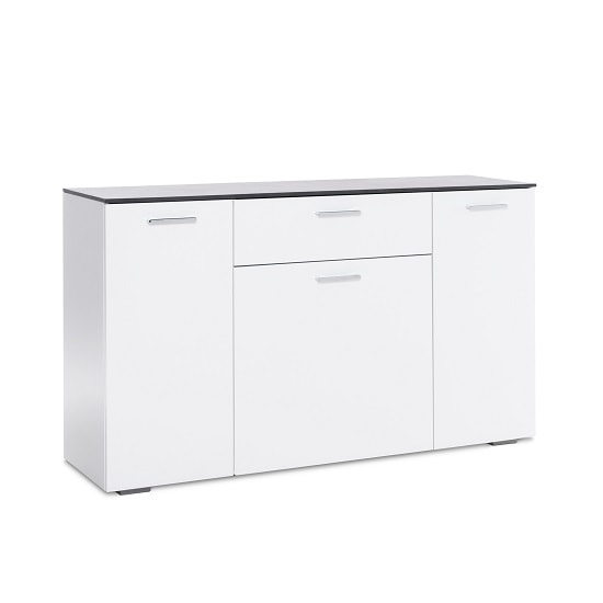 Flavio Sideboard In White High Gloss Dark Concrete With 3 Doors