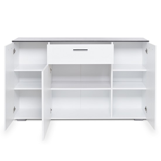 Flavio Sideboard In White High Gloss Dark Concrete With 3 Doors_4
