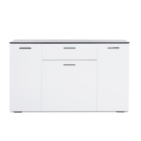 Flavio Sideboard In White High Gloss Dark Concrete With 3 Doors_2