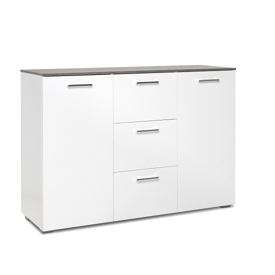 Flavio Small Sideboard In White High Gloss And Dark Concrete