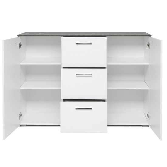 Flavio Sideboard In White High Gloss Dark Concrete And 2 Doors_3
