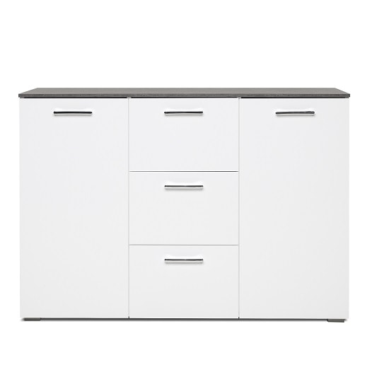 Flavio Sideboard In White High Gloss Dark Concrete And 2 Doors_2