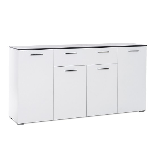 Flavio Sideboard In White High Gloss Dark Concrete With 4 Doors_1