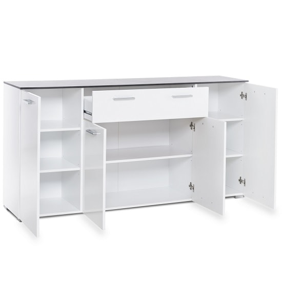 Flavio Sideboard In White High Gloss Dark Concrete With 4 Doors_3