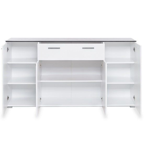 Flavio Sideboard In White High Gloss Dark Concrete With 4 Doors_4