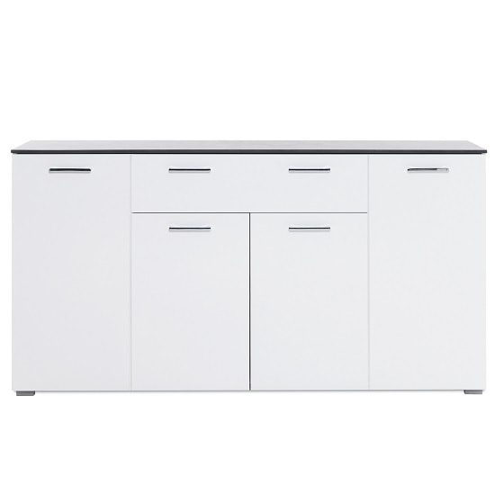 Flavio Sideboard In White High Gloss Dark Concrete With 4 Doors_2