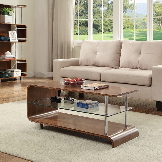 Flavius Wooden Coffee Table In Walnut With Glass Shelf