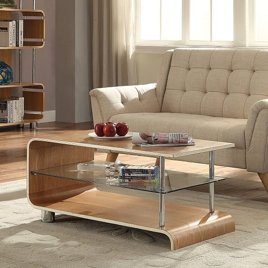 Flavius Wooden Coffee Table In Ash Wood With Glass Shelf