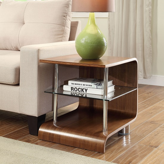 Flavius Wooden Lamp Table Square In Walnut With Glass Shelf