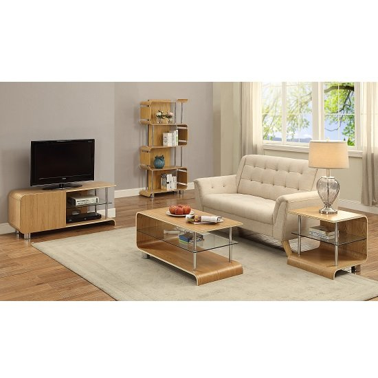 Flavius TV Stand In Ash Wood With 1 Door And Glass Shelf_4