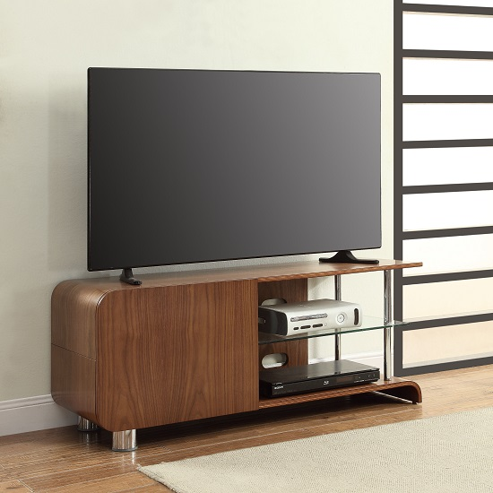 Flavius TV Stand In Walnut With 1 Door And Glass Shelf