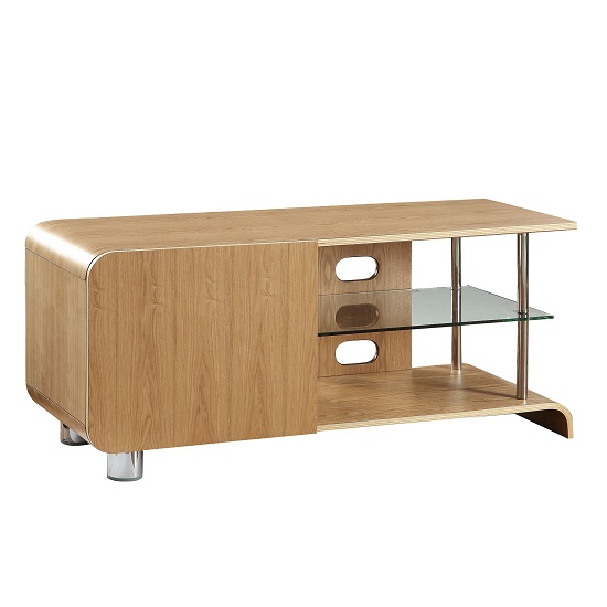 Flavius TV Stand In Ash Wood With 1 Door And Glass Shelf_2