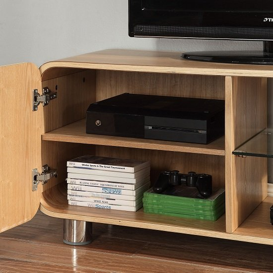 Flavius TV Stand In Ash Wood With 1 Door And Glass Shelf_3