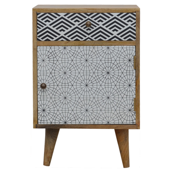 Flee Wooden Mixed Pattern Bedside Cabinet In Black White Printed_2