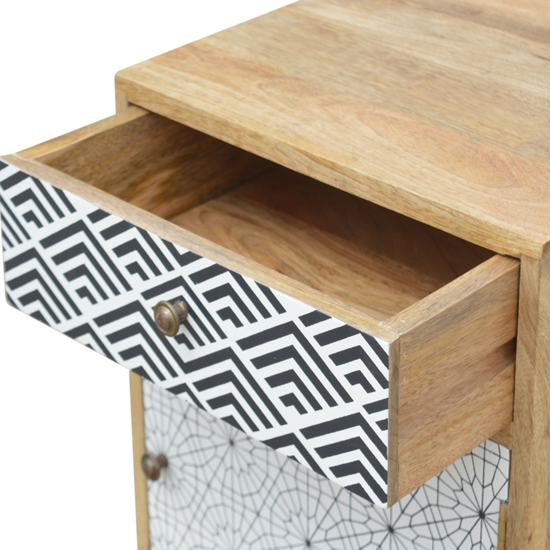 Flee Wooden Mixed Pattern Bedside Cabinet In Black White Printed_3