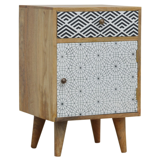 Flee Wooden Mixed Pattern Bedside Cabinet In Black White Printed_1