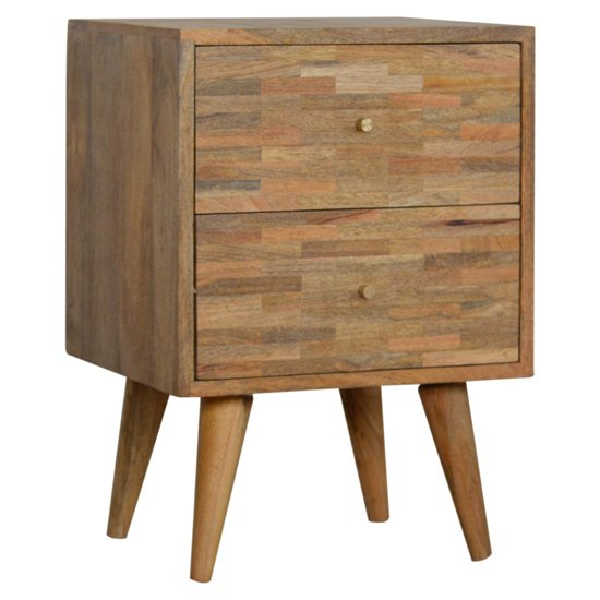 Flee Wooden Mixed Pattern Bedside Cabinet In Oak Ish 2 Drawers