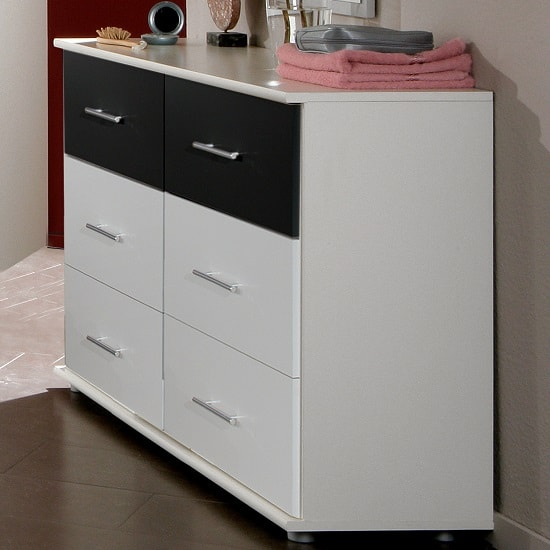 Bellingham Chest Of Drawers In White And Black With 6 Drawers