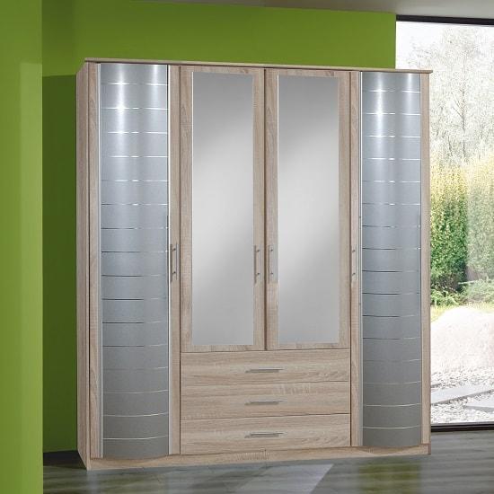 Bellingham Mirrored Wardrobe In Oak Effect With 4 Doors