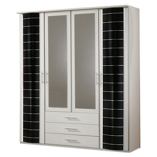 Bellingham Mirrored Wardrobe In White And Black With 4 Doors