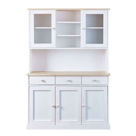 Flens 5 Doors Display Cabinet In Milkyskin White With 3 Drawers
