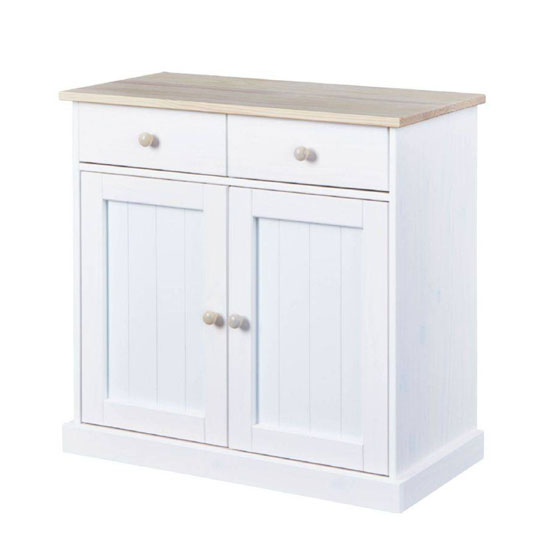 Flens FSC 2 Doors Sideboard In Milkyskin White With 2 Drawers