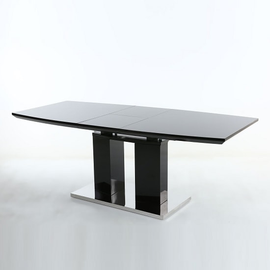 Fletton Extendable Dining Table Rectangular In Black High Gloss