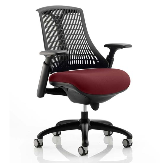 Flex Task Black Back Office Chair With Ginseng Chilli Seat