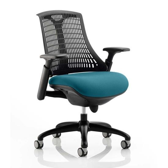 View Flex task black back office chair with maringa teal seat