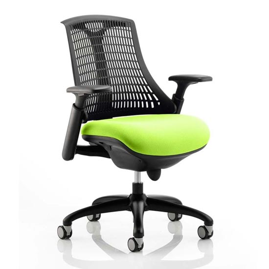 View Flex task black back office chair with myrrh green seat
